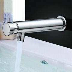 Wall Mounted Water-saving Time Delay Self-closing Brass Basin Faucet