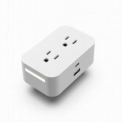 朗洪wifi遠程控制智能插座帶感應燈語音識別