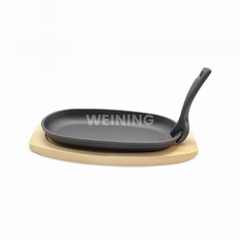 Oval Shape Cast Iron Steak Plate Sizzle Griddle with Wooden Base Steak