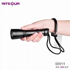 廠家直銷跨境熱款強光潛水LED手電筒DIV11深度技術潛水備用探照燈