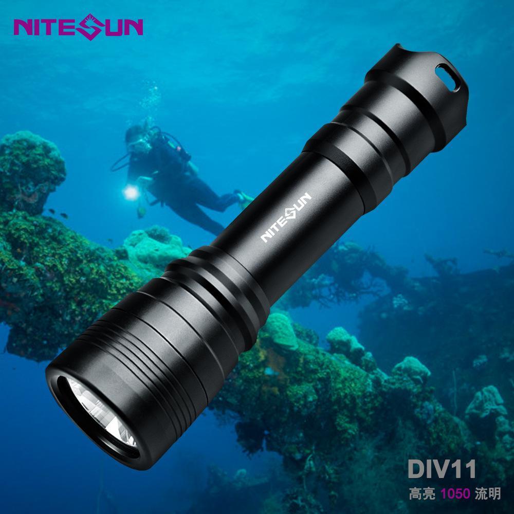廠家直銷跨境熱款強光潛水LED手電筒DIV11深度技術潛水備用探照燈 5