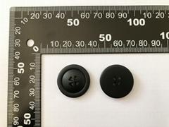 Top grade resin buttons 4-hole matt black color size 25mm