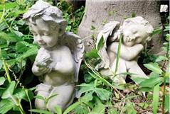 Antique Resin Little Angel Sculpture Ornaments Outdoor Garden Decoration