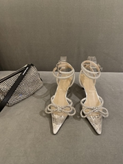 Mach and Mach Crystal Embellished Pumps PVC Clear Si  er Double Bow