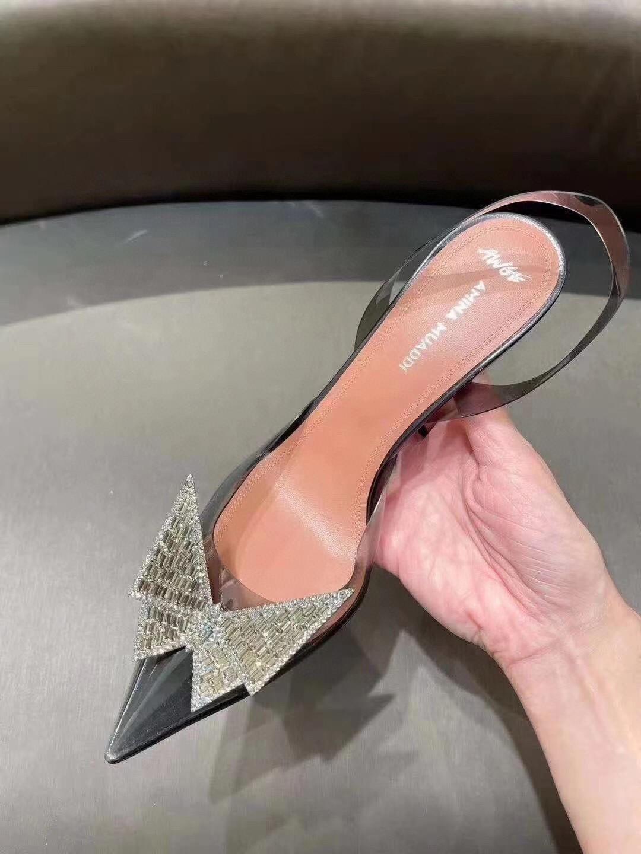 Amina Muaddi Plexi Phoenix Slingback Pumps party sandals women pvc shoes 1