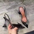 Amina Muaddi Plexi Phoenix Slingback Pumps party sandals women pvc shoes 3
