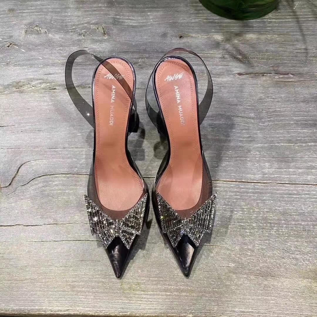 Amina Muaddi Plexi Phoenix Slingback Pumps party sandals women pvc shoes 5