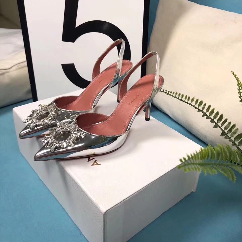 Amina Muaddi Plexi Phoenix Slingback Pumps party sandals women pvc shoes 13