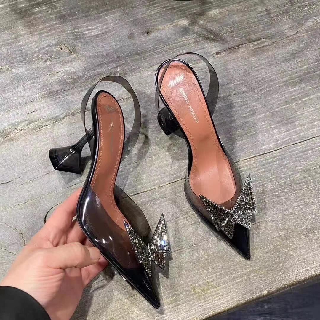 Amina Muaddi Plexi Phoenix Slingback Pumps party sandals women pvc shoes 16