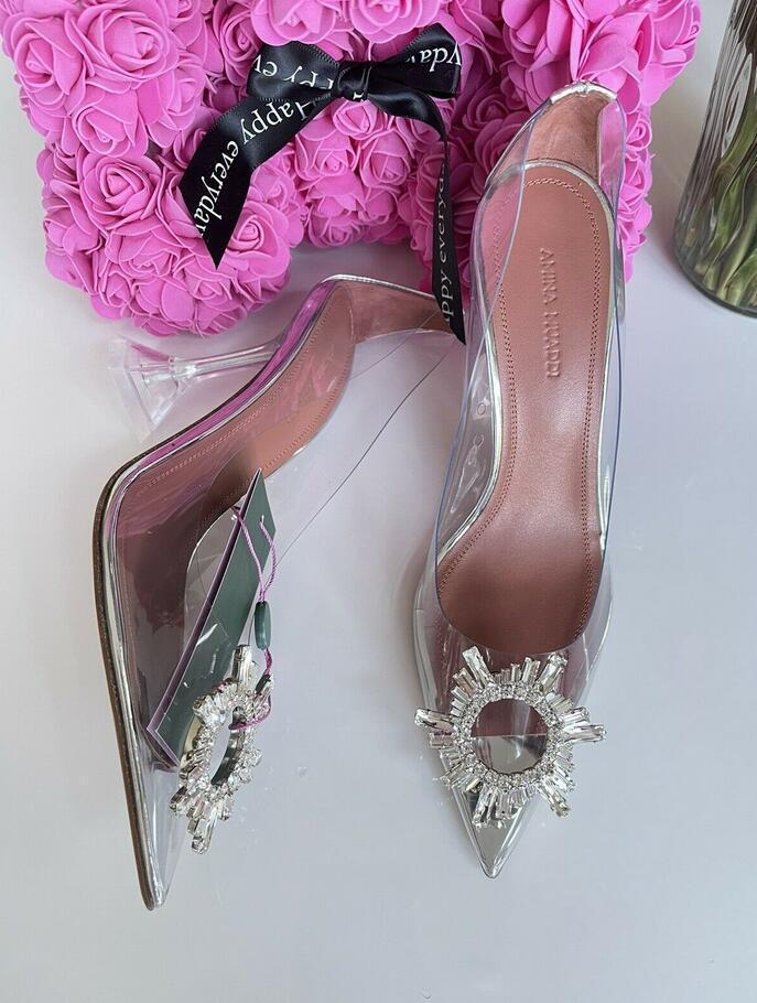 Amina Muaddi Plexi Phoenix Slingback Pumps party sandals women pvc shoes 20