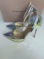 GIANVITO ROSSI ANKLE STRAP PUMP HOLOGRAM MIRRORED PVC POINTED TOE shoes 4