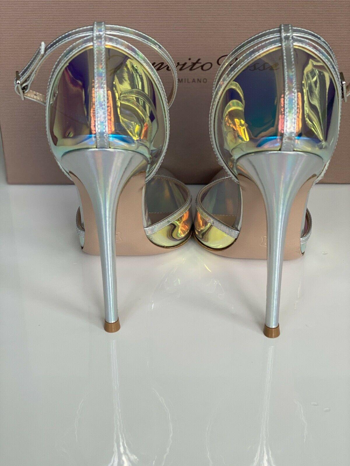 GIANVITO ROSSI ANKLE STRAP PUMP HOLOGRAM MIRRORED PVC POINTED TOE shoes 5