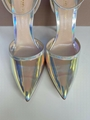 GIANVITO ROSSI ANKLE STRAP PUMP HOLOGRAM MIRRORED PVC POINTED TOE shoes 6