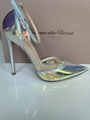 GIANVITO ROSSI ANKLE STRAP PUMP HOLOGRAM MIRRORED PVC POINTED TOE shoes 7