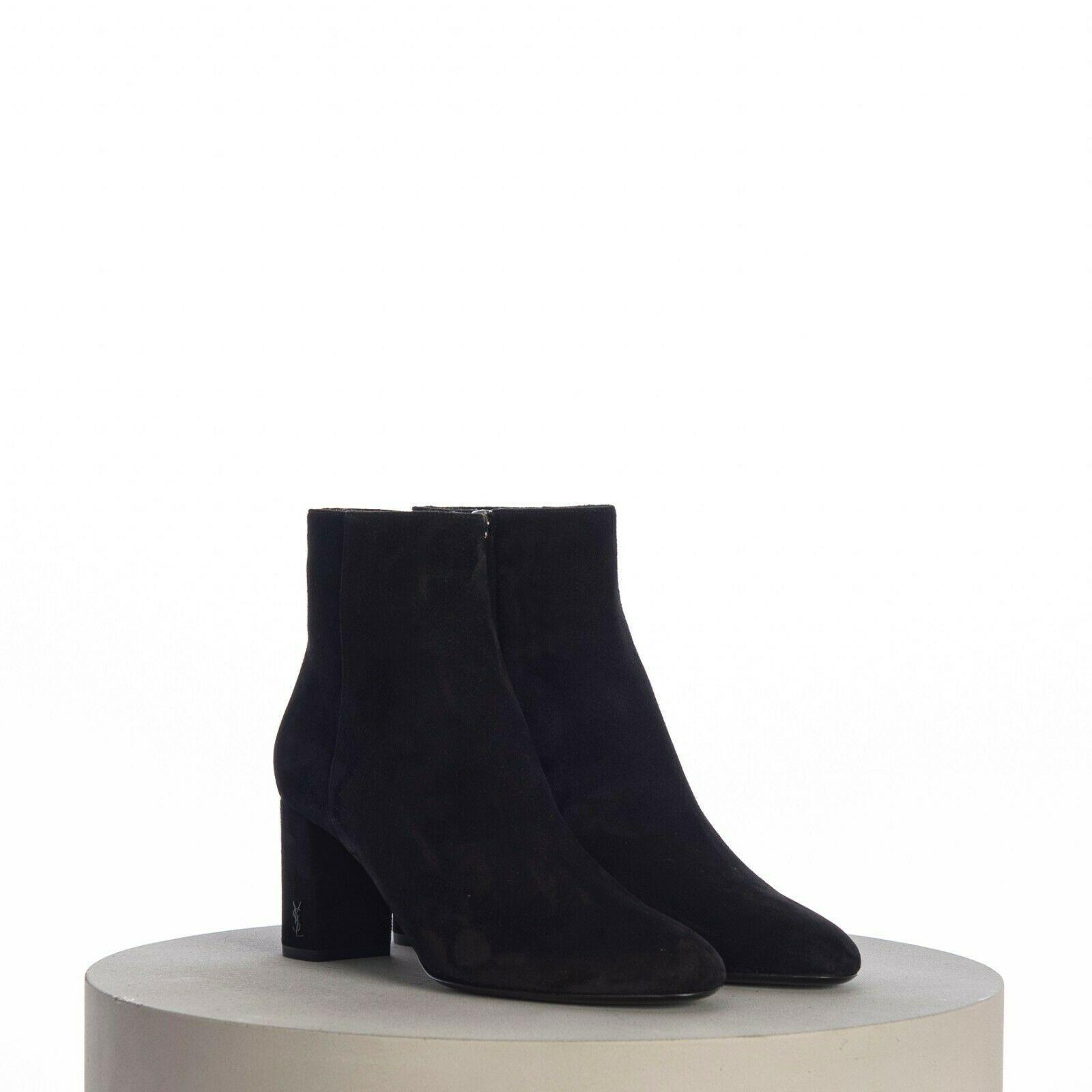 SAINT LAURENT PARIS women Loulou Bootie Black Suede heel high shoes 5