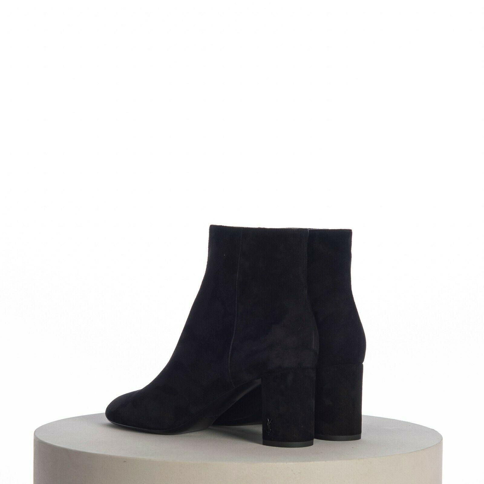 SAINT LAURENT PARIS women Loulou Bootie Black Suede heel high shoes 6