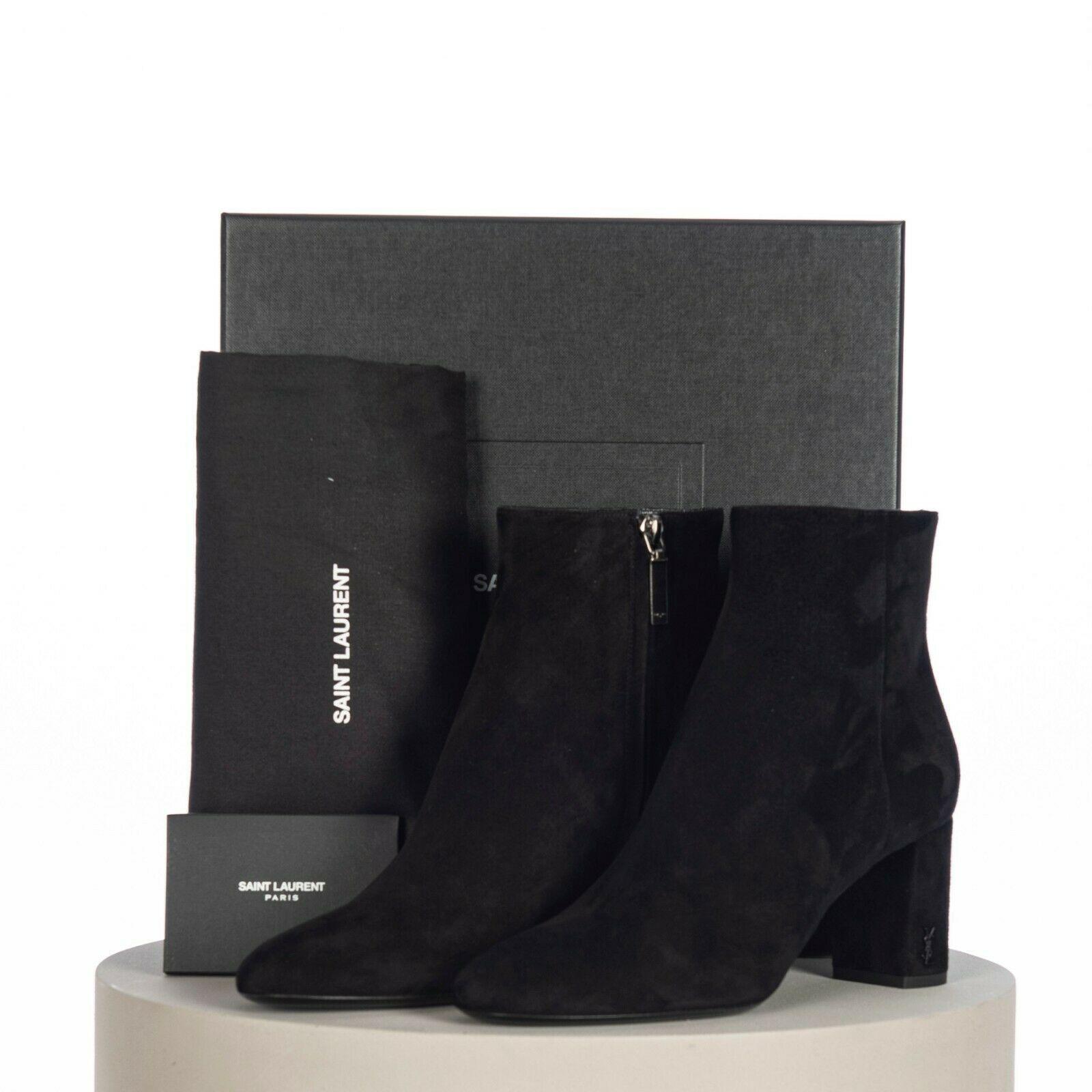 SAINT LAURENT PARIS women Loulou Bootie Black Suede heel high shoes 1