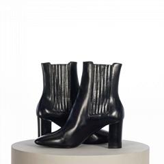 SAINT LAURENT PARIS Black Smooth Leather Lou Chelsea Boots Black Leather shoes