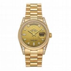 Rolex Day-Date 118338 Mens President Bracelet Watch Auto Yellow Gold Diamonds