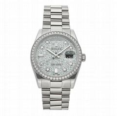 Rolex Day-Date Auto 36mm 118346 President Bracelet Platinum Diamonds Mens Watche