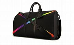 women Keepall 50 L   age men travel bag black taiga leather
