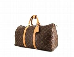 Keepall 50 cm monogram canvas natural leather travel bag