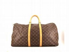 Keepall 55 cm monogram canvas natural leather travel bag brown
