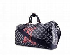 Keepall travel bag monogram canvas blue leather Upside Down Editio
