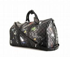 Keepall 50 cm travel bag grey Graphite damier canvas black leather