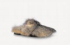1A90RR Easy Mule slipper winter soft fox fur shoe