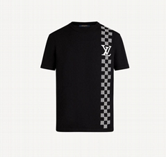 Damier Stripe Jacquard T-Shirt Highly breathable short sleeve
