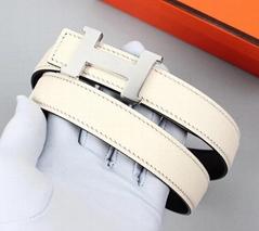 Women's        25mm White Black Epsom Leather Constance Belts Si  er Buckle