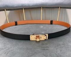 Women's        Black Epsom calfskin Leather 17mm Kelly Buckle Leather belts