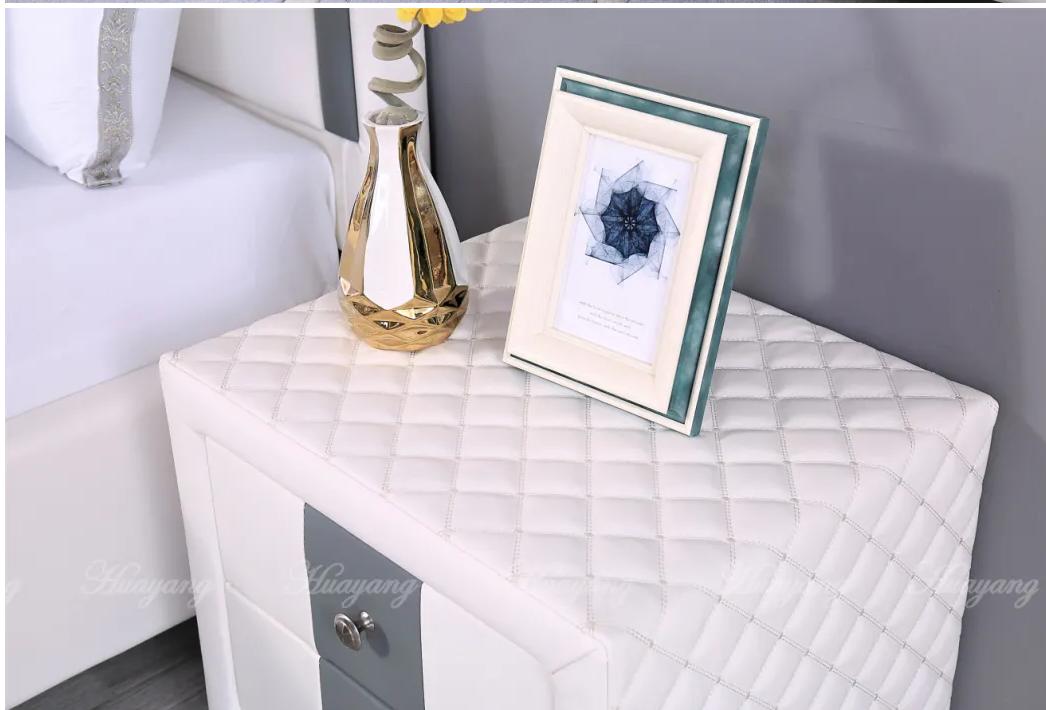 European Style Leather Platform Bed 3
