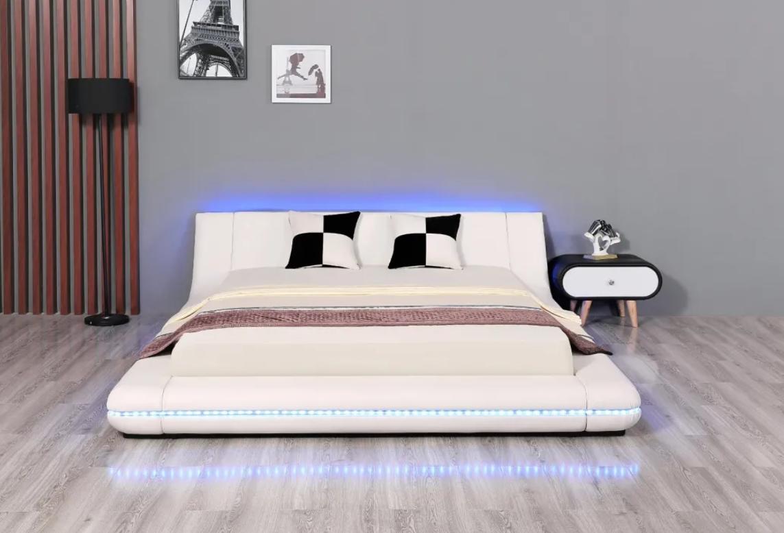 Leather Beds LED King Size Bed Bedroom Furniture 1