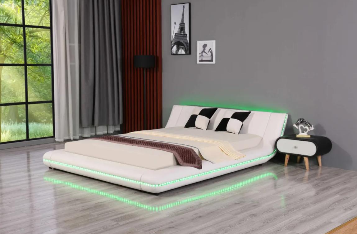 Leather Beds LED King Size Bed Bedroom Furniture 2