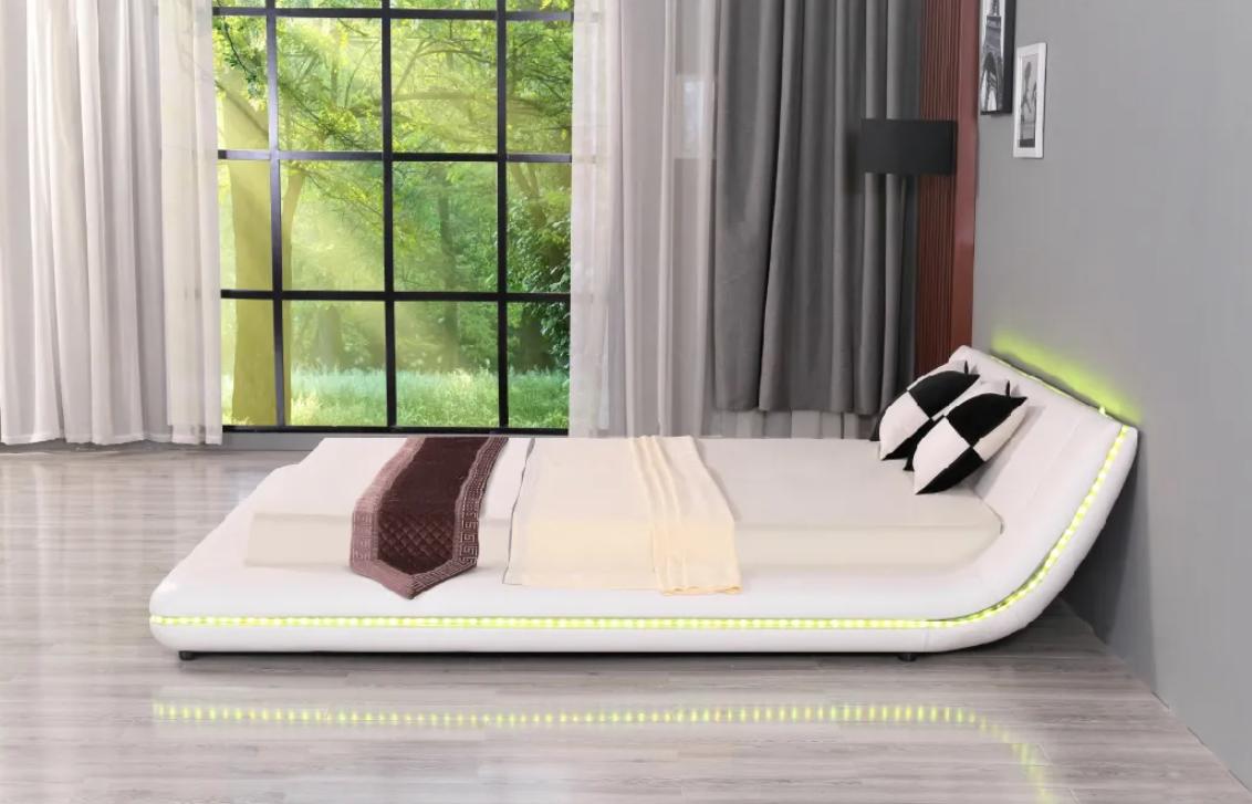 Leather Beds LED King Size Bed Bedroom Furniture 3