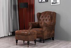 Wingback Armchair and Ottoman