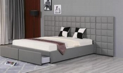 Fabric Woven Pattern Bed Double Bedroom Bed with Bed Couch Furniture