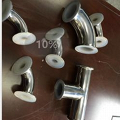 卫生级快装衬氟90˚弯头 衬氟管道及配件