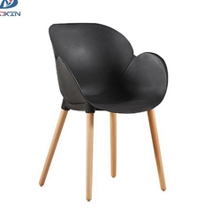 Nordic leisure plastic cafe chair modern dining armchair with wooden legs