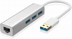 USB 3.0 to Ethernet Adapter 3-Port USB 3.0 Hub with RJ45 10 100 1000 Gigabit Eth