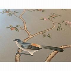 中國風手繪牆紙上藍灰色竹節絲