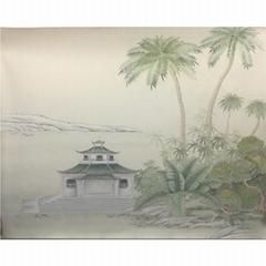 手繪風景壁紙-西湖風光
