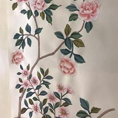 中國風手繪牆紙在銀色金屬鍍金紙上