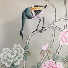洋金箔上的中國風手繪壁紙