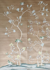 手繪梅花金鍍金紙壁紙的酒店