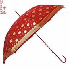 中益23寸双层喜字新娘婚庆伞直杆红伞弯钩结婚新娘伞一件代发