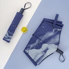 中益古風水墨江山遮陽傘太陽傘男女國潮中國風防晒三折黑膠晴雨傘