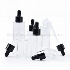 Clear Glass Bottles with Dropper Cap Flat Shoulder Bottles